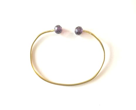 Brass-Bracelet-Crystal-Glass-Purple-Rondell-Bead